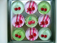 Colorful Cherries Magnets, Magnet Set of Nine with Storage Tin by UpNorthKnitsAndGifts on Etsy https://www.etsy.com/listing/241252868/colorful-cherries-magnets-magnet-set-of