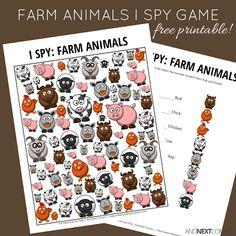 Free farm animal themed I spy printable for kids