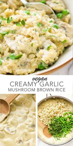 Vegan Creamy Garlic Mushroom Brown Rice so easy and delicious! #vegan #dairyfree #glutenfree #brownrice #mushrooms
