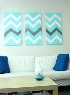 chevron canvas panels.....for the open wall in livingroom?