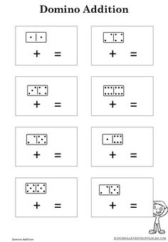 FREE domino addition sheet. Perfect for beginning addition lessons!