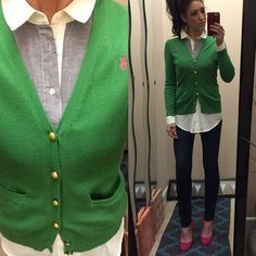 POLO cardigan Kelly green polo cardi. Pink polo logo and gold tone buttons. Perfect condition. Will fit and XS/S best. Polo by Ralph Lauren Sweaters Cardigans