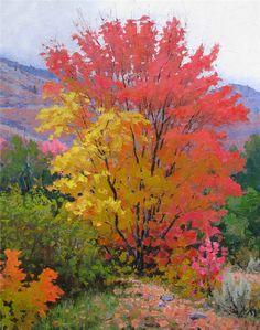 by Douglas Aagard Watercolor Landscape, Landscape Art, Landscape Paintings, Watercolor Paintings, Landscapes, Autumn Painting, Autumn Art, Autumn Scenery, Tree Photography