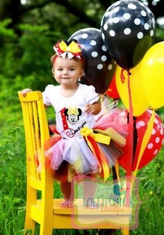 Minnie Mouse with Number Red, Yellow, Black, Tutu -Personalized Birthday Tutu,Sizes 6m - 14/16 on Etsy, $62.00