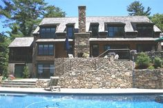 Beautiful House by the Bay in Duxbury Bay with a Beautiful Ocean View : Awesome Traditional Patio With Swimming Pool Exposed Stone Wall Duxb...