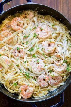 Creamy Shrimp Pasta Recipe (VIDEO) - NatashasKitchen.com Pasta Recipes Video, Shrimp Pasta Recipes, Shrimp Dishes, Pasta Dishes, Seafood Recipes, Cooking Recipes, Healthy Recipes, Healthy Food, Top Recipes