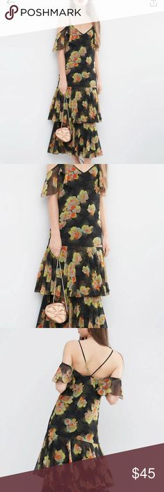 ASOS floral cold shoulder dress - BNWT Cold shoulder maxi dress that can be worn for a dressy occasion and is unique and different than any other ASOS Dresses Maxi