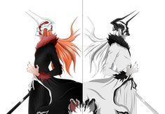 Shirosaki e Kurosaki Vasto Lorde Colored by lordbalda on deviantART Bleach Anime Art, Bleach Fanart, Bleach Manga, Shinigami, Ichigo Hollow Mask, Touka Wallpaper, Manga Anime, Ichigo Y Rukia, Bleach Characters