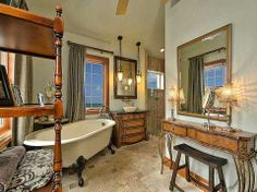 "Beachfront ""Castle"" for Sale in Redington Beach, FL:  Master Bath with Claw Foot Tub"