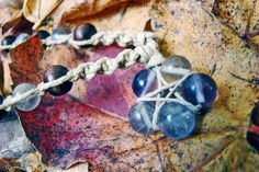 Fluorite Gemstone Macrame Star Hemp Necklace by TheKnottyRatsNest, $17.00