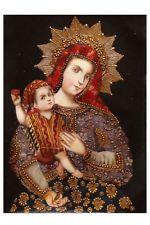 Virgen y el niño colonial Cusco Perú arte popular original pintura al óleo sobre lienzo