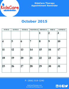 Use this October 2015 editable PDF calendar to plan out your Speech, Physical, or Occupational therapy for the month!