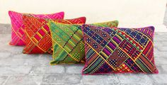 Tribal dark blue pillow embroidered and welted cotton by VLiving
