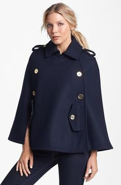 Michael Michael Kors Peacoat Cape Check out on Stylr~ Winter Jackets Women, Coats For Women, Clothes For Women, Fall Wardrobe Essentials, Lil Black Dress, Cute Coats, Stylish Coat, Queen, Passion For Fashion