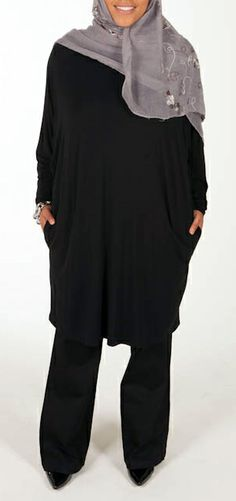 d252b9f3ec5 Butterfly Tunic with Pockets -- Black - $44.99 : Plus Size Muslimah :: Plus
