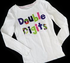 Personalized front and back - Double digits or your message -  personalized applique SHIRT - girl, toddler, tween - birthday number on back on Etsy, $29.00 10th Birthday Parties, Birthday Ideas, Bday Girl, Girl Toddler, Birthday Numbers, Applique, Cute Shirts, Birthday Shirts, Shirts For Girls