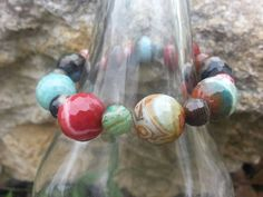 rainbow banded agate stretchy bracelet by KHamptonDesigns on Etsy