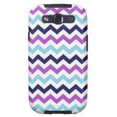 Purple and Blue Zig Zag Chevrons Pattern Galaxy S3 Case $49.95