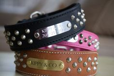 2 Inch wide Cone Stud Dog Collar. This sturdy two ply genuine oiled leather collar features an attractive cone studded pattern throughout the collar. It also comes in 1.5 inch wide which is listed sep