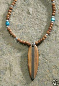 Hawaii Necklace Wood Bead Wood Surfboard 5