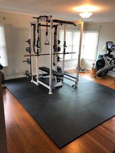 Home Gym Basement, Home Gym Garage, Diy Home Gym, Gym Room At Home, Home Gym Decor, Basement Workout Room, Crossfit Garage Gym, Dream Home Gym, Best Home Gym Setup