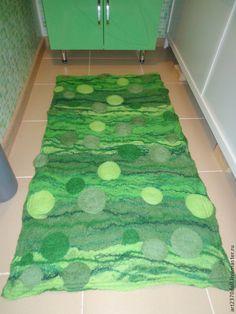 Купить Комплект ковриков для ванной и туалета из шерсти - зеленый, коврик ручной работы, коврик для ванной