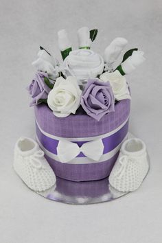 Baby Clothes Flower Bouquet Nappy Cake - Lilac