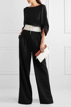 Tibi   Striped linen-blend and crepe wide-leg pants   NET-A-PORTER.COM