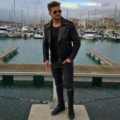 "@antonio.pozo on Instagram ""Biker look. Amazing jacket by @bodaskins"" Oil Black Kay Michaels - £389.00"