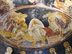 This is a well-known fresco of the Anastasis in Chora Church in modern day Istanbul, Turkey. The Church of the Holy Saviour in Chora is considered to be one of the most beautiful surviving examples of a Byzantine church. San Salvador, Pierre Loti, English Reformation, Holy Saturday, The Rite, Byzantine Art, Byzantine Mosaics, Hagia Sophia, Holy Week