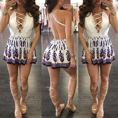7fd1713bc3c Retro Print Lace-up Casual Plunge Romper Honeymoon Outfits
