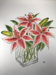Watercolour painting of lillies by IE