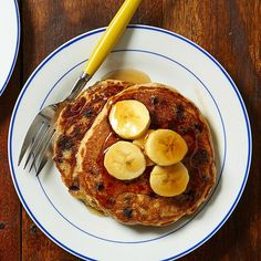 Blueberry Pancakes with Caramelized Bananas
