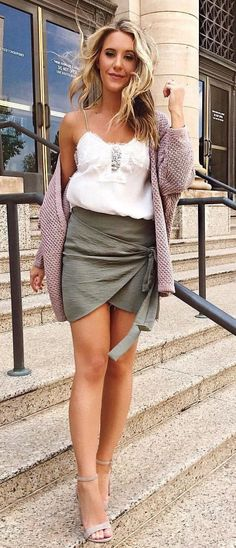 #fall #outfits Purple Cardigan + White Tank + Khaki Wrap Skirt