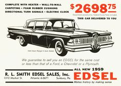 vintage edsel photos | 1959 Edsel Ranger 2-Door Sedan | Explore aldenjewell's photo ...