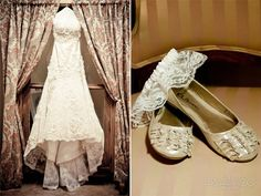 One of our lovely brides lace detailed wedding gown and ballet shoes.  Comfort and elegance, smart choice.