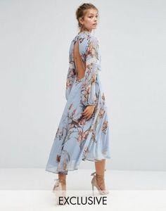 Платье миди с принтом, открытой спиной и кружевными вставками Hope & Ivy