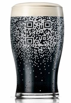 Very creative marketing. Fill this glass with Guinness, get a QR code.