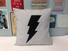 The Flash - Grey Retro Superhero Cushion Pillow Cover Gray Black Lightening Bolt Felt Design Appliqué 14 16 18 20 22 24 inch size large by BeUniqueBaby on Etsy