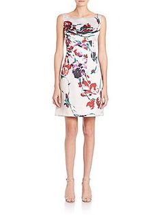 Kay Unger Floral Ottoman Sheath Dress