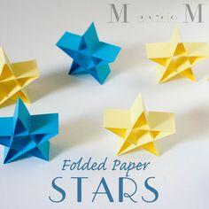 Folded paper stars (DIY) / Etoiles de Noël en papier