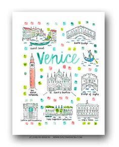 Evelyn Henson illustration: Venice, Italy Print
