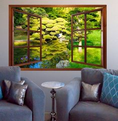 Wall mural window-self adhesive-Zen Garden window sizes available-perfect gift Window Mural, Window View, Spa Interior Design, Faux Window, Wall Murals, Mural Art, Wall Decal, Garden Windows, Zen