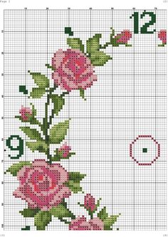Ring of Roses Clock Cross Stitch Rose, Cross Stitch Borders, Cross Stitch Animals, Cross Stitch Flowers, Cross Stitch Charts, Cross Stitching, Cross Stitch Patterns, Embroidery Art, Embroidery Stitches