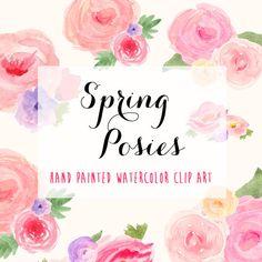 Frühling Blumen Posies Aquarell Hand Painted von bellaloveletters