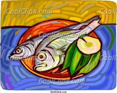 Fish on a plate with lemon