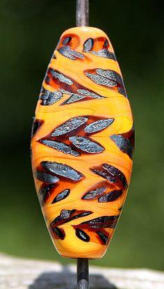 Running Leopard Handmade Lampworked Glass Bead OOAK by ninaeagle, $20.99