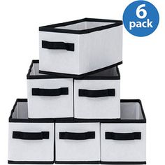Mainstays Small Collapsible Drawers, White with Black Trim, Set of 6 - Walmart $13.32