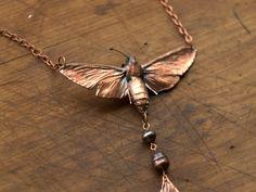 Necklace from hawk or sphinx mothsginkgo leafcopper by Galvanart