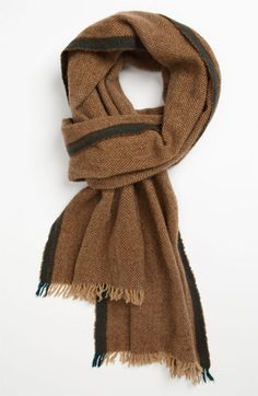 Women/'s Nordstrom Wool /& Cashmere Scarf Brown 2915